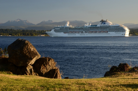 Nice night to view the Cruise Ships crossing in front of April Point Resort in Campbell River, BC